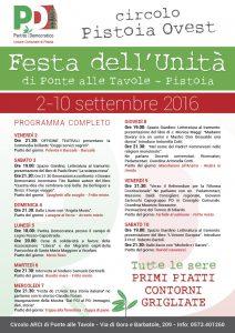 Programma Festa Unita 2016 Ponte alle Tavole