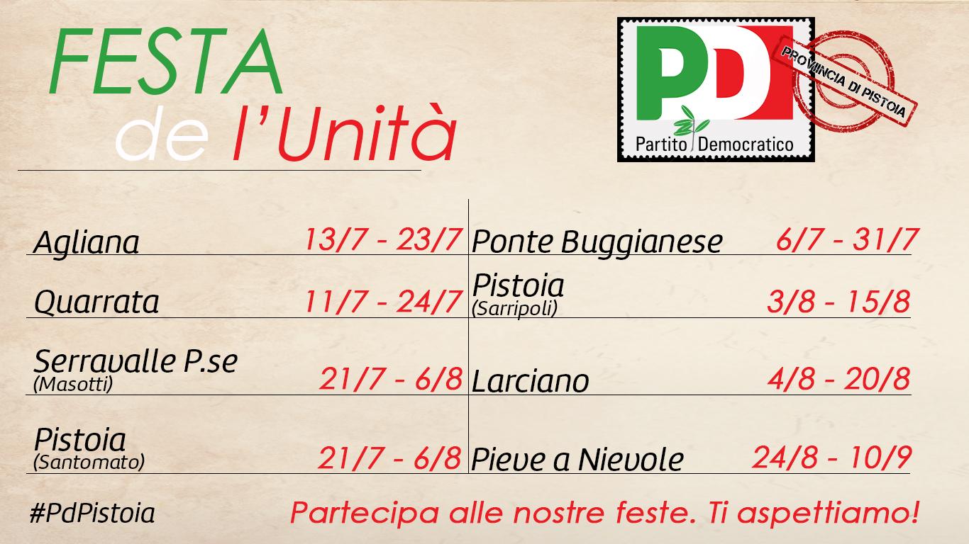 Calendario Feste.Calendario Feste De L Unita In Provincia Di Pistoia Pd Pistoia
